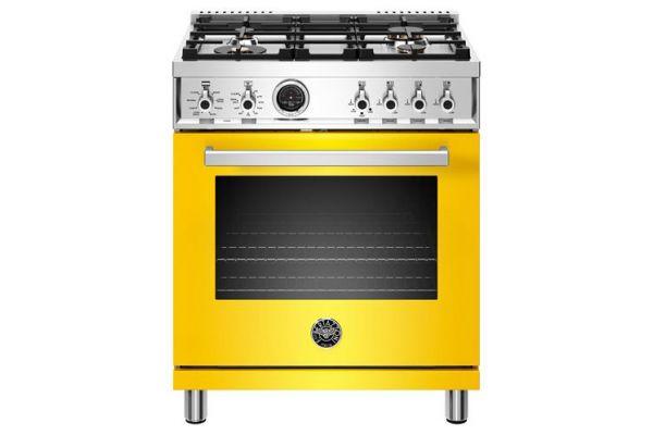 "Bertazzoni Professional Series 30"" Yellow Dual Fuel Range - PROF304DFSGIT"