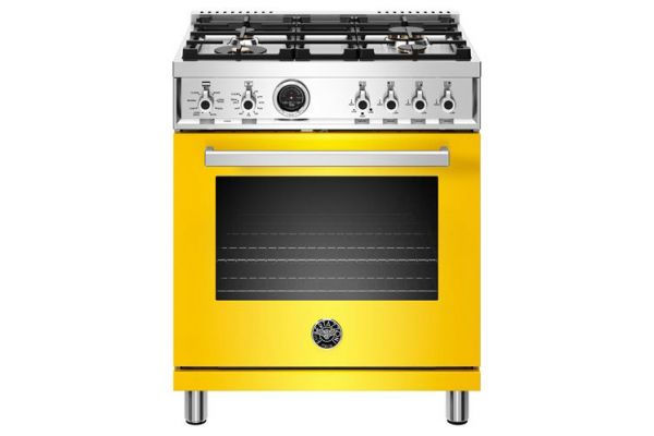 "Large image of Bertazzoni Professional Series 30"" Yellow Dual Fuel Range - PROF304DFSGIT"