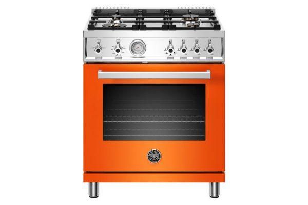 """Large image of Bertazzoni Professional Series 30"""" Orange Natural Gas Range - PROF304GASART"""