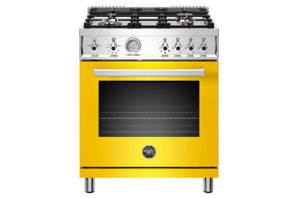 """Large image of Bertazzoni Professional Series 30"""" Yellow Natural Gas Range - PROF304GASGIT"""