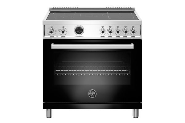 "Large image of Bertazzoni Professional Series 36"" Black Induction Range - PROF365INSNET"