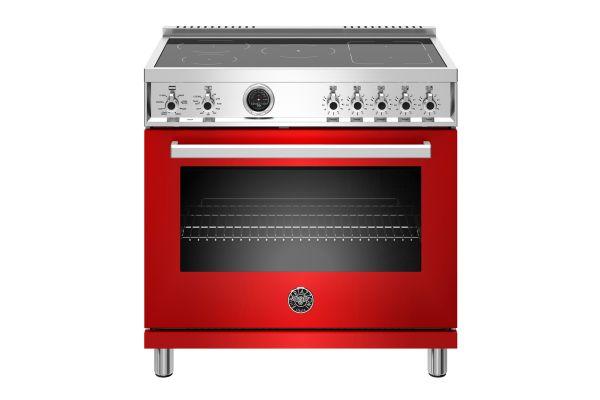 "Large image of Bertazzoni Professional Series 36"" Red Induction Range - PROF365INSROT"