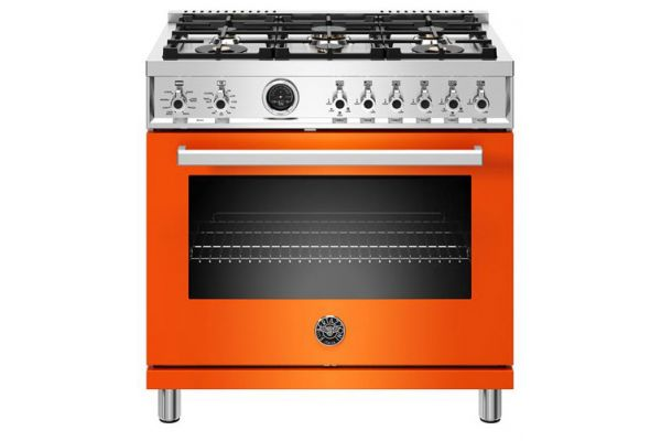 "Large image of Bertazzoni Professional Series 36"" Orange Dual Fuel Range - PROF366DFSART"