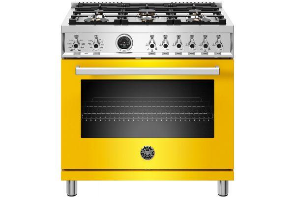 "Large image of Bertazzoni Professional Series 36"" Yellow Dual Fuel Range - PROF366DFSGIT"