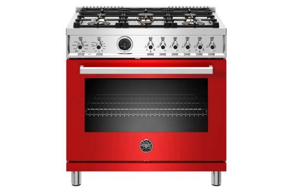 "Large image of Bertazzoni Professional Series 36"" Red Dual Fuel Range - PROF366DFSROT"