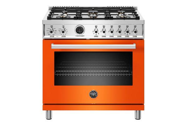 """Large image of Bertazzoni Professional Series 36"""" Orange Gas Range - PROF366GASART"""