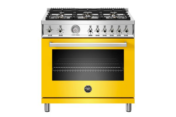 "Bertazzoni Professional Series 36"" Yellow Gas Range - PROF366GASGIT"