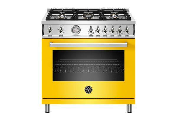 """Large image of Bertazzoni Professional Series 36"""" Yellow Gas Range - PROF366GASGIT"""