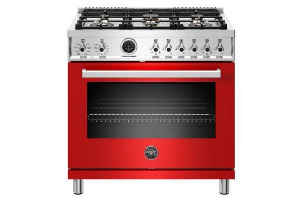 """Large image of Bertazzoni Professional Series 36"""" Red Natural Gas Range - PROF366GASROT"""