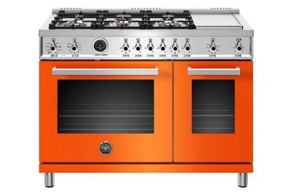 "Large image of Bertazzoni Professional Series 48"" Orange Dual Fuel Range - PROF486GDFSART"