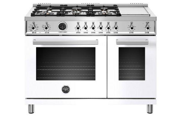 "Large image of Bertazzoni Professional Series 48"" White Dual Fuel Range - PROF486GDFSBIT"