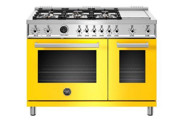 "Large image of Bertazzoni Professional Series 48"" Yellow Dual Fuel Range - PROF486GDFSGIT"