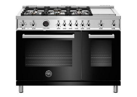 """Bertazzoni Professional Series 48"""" Black Dual Fuel Range - PROF486GDFSNET"""