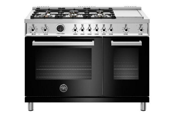 "Large image of Bertazzoni Professional Series 48"" Black Dual Fuel Range - PROF486GDFSNET"