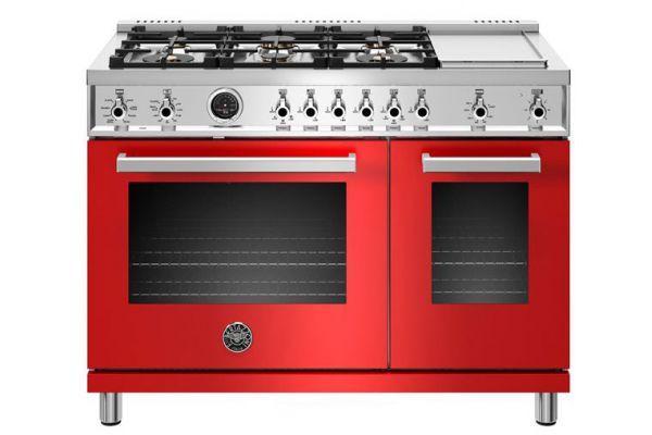 "Large image of Bertazzoni Professional Series 48"" Red Dual Fuel Range - PROF486GDFSROT"