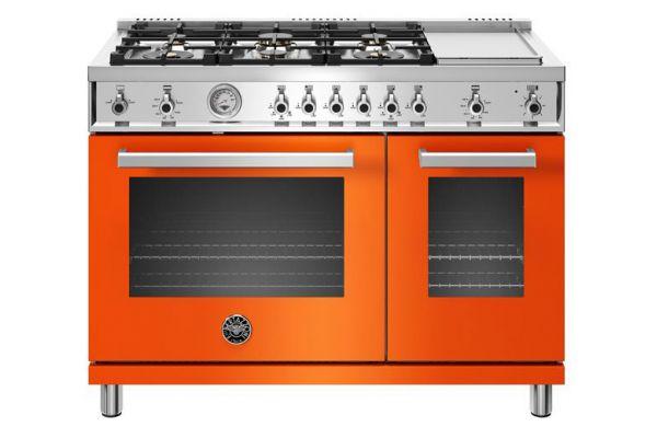 """Large image of Bertazzoni Professional Series 48"""" Orange Natural Gas Range - PROF486GGASART"""