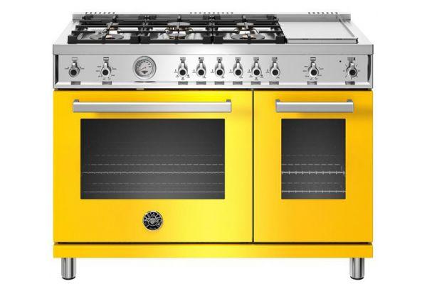"""Large image of Bertazzoni Professional Series 48"""" Yellow Gas Range - PROF486GGASGIT"""