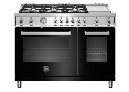 "Bertazzoni Professional Series 48"" Black Gas Range - PROF486GGASNET"
