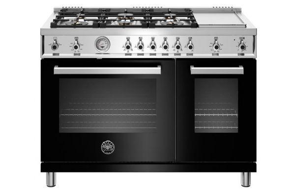 """Large image of Bertazzoni Professional Series 48"""" Black Natural Gas Range - PROF486GGASNET"""
