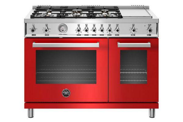 """Large image of Bertazzoni Professional Series 48"""" Red Gas Range - PROF486GGASROT"""