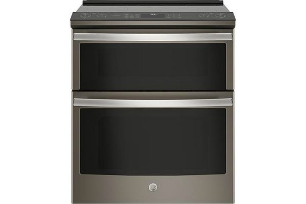"GE Profile 30"" Slate Slide-In Electric Double Oven Convection Range - PS960ELES"