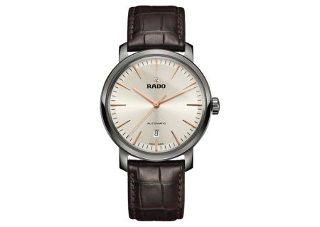 Rado DiaMaster Three Hands Automatic Brown Leather Mens Watch - R14074086