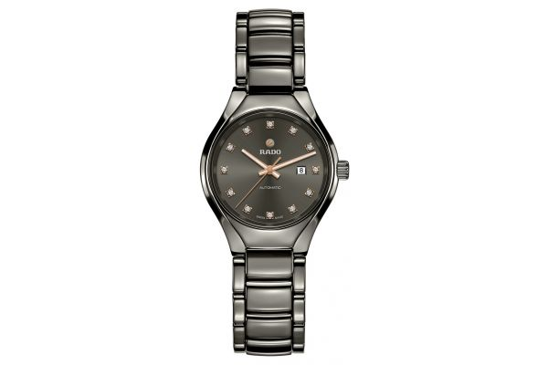 Large image of Rado True Rose Gold and Black Automatic Diamonds Womens Watch - R27243732