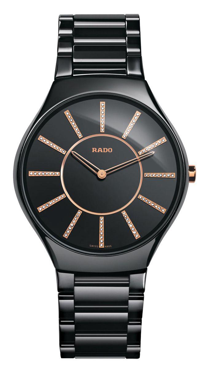 Rado True Thinline Rose Gold Black Womens Watch R27741702
