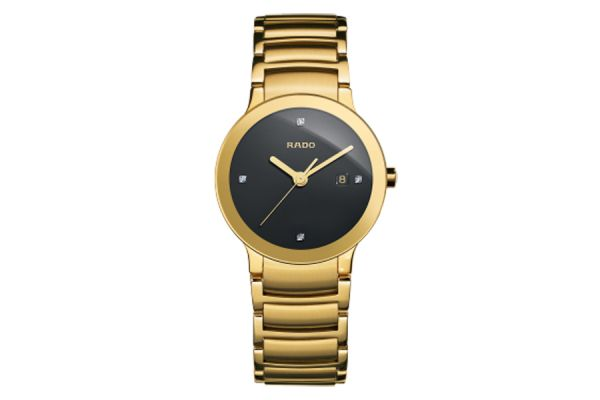 Large image of Rado Centrix Yellow Gold Tone And Black Dial Ladies Watch - R30528713