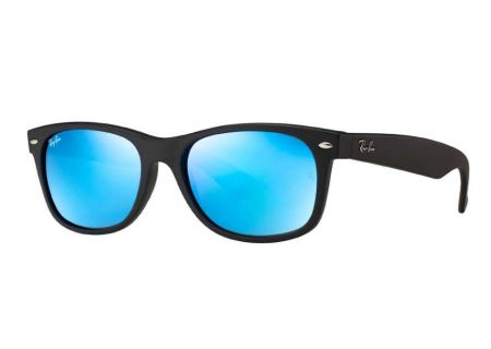 Ray-Ban New Wayfarer Matte Black Flash Unisex Sunglasses - RB2132 622/17 55