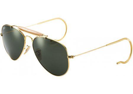 Ray-Ban Gold Outdoorsman Aviator Mens Sunglasses - RB3030 L0216 58-14