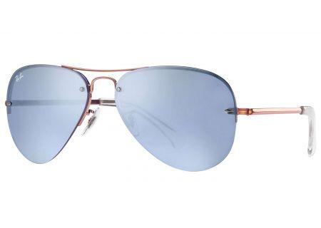 Ray-Ban Blue Silver Mirror Unisex Aviator Sunglasses - RB3449 90351U 59-14