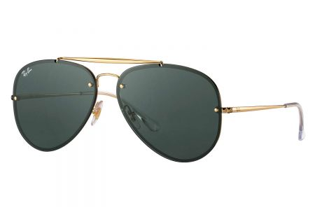 Ray-Ban Blaze Aviator Gold And Green Classic Sunglasses - RB3584N 905071 61-13