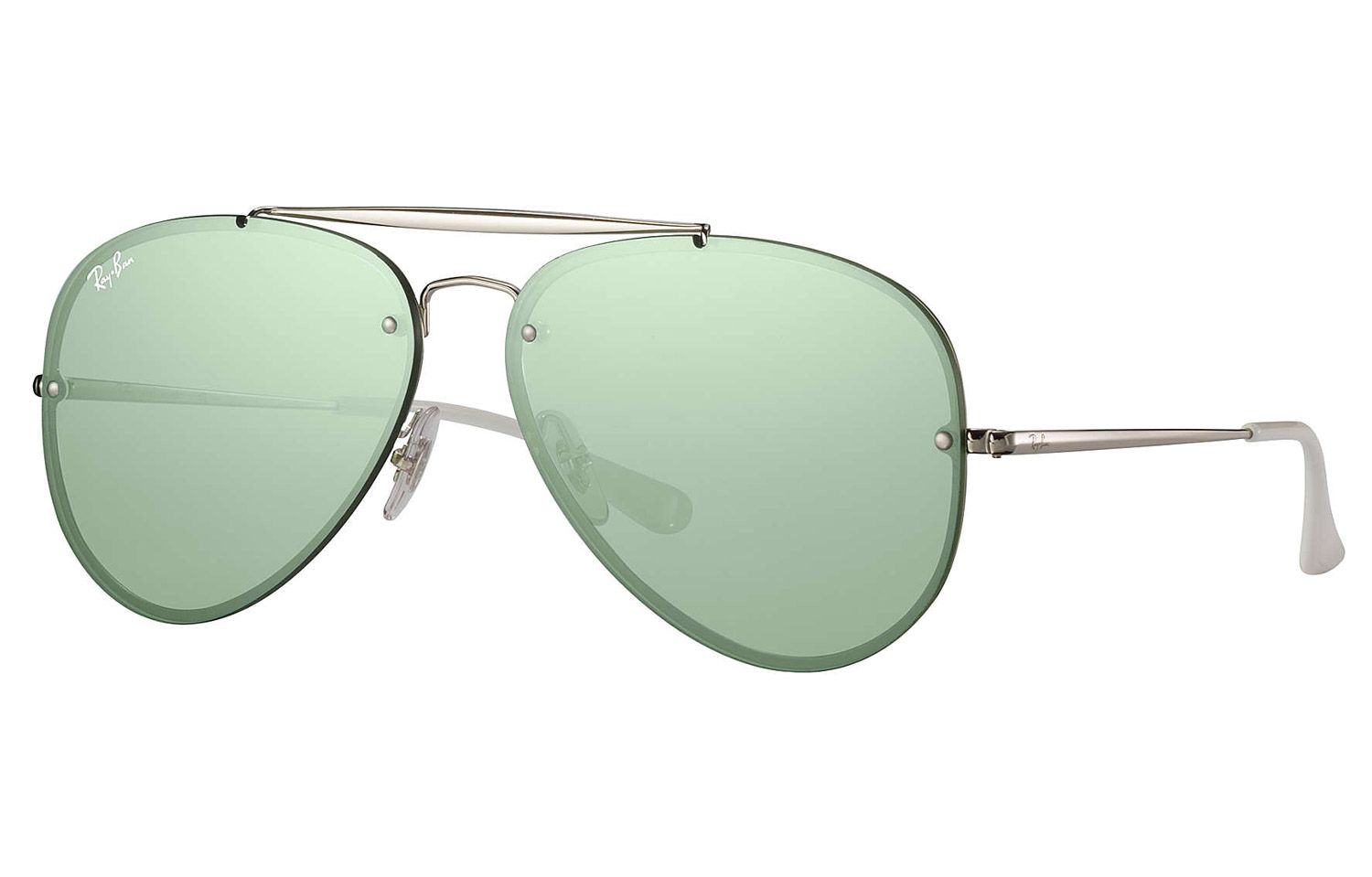 f3fc8964f2 Ray-Ban Blaze Aviator Silver And Dark Green Mirror Sunglasses - RB3584N 905130  61-
