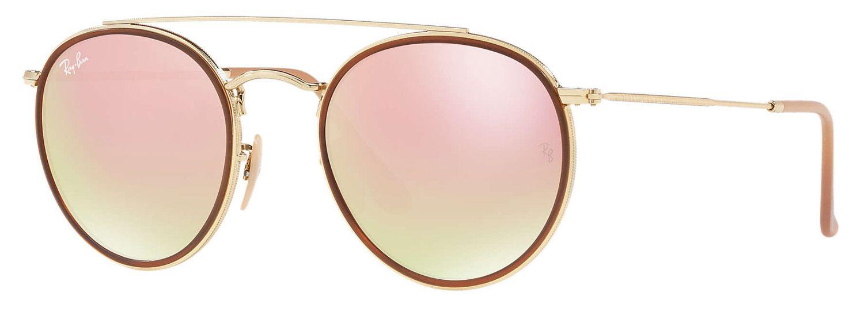 b309e8efb78 Ray-Ban Round Double Bridge Gradient Brown Mirror Pink Unisex Sunglasses -  RB3647N 001