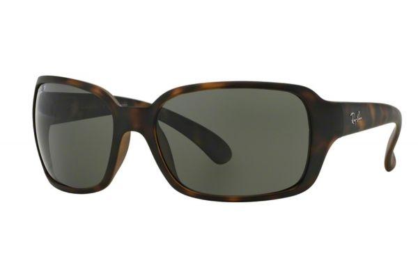 Large image of RayBan Matte Havana Polarized Green Classic G-15 Womens Sunglasses - RB4068 894/58 60
