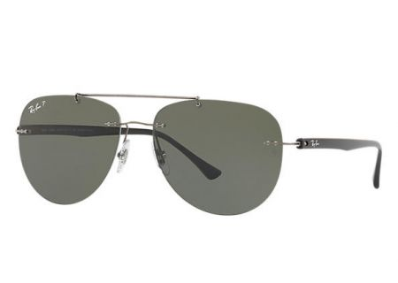 Ray-Ban Gunmetal Polarized Green Classic G-15 Aviator Sunglasses - RB8059 004/9A 57