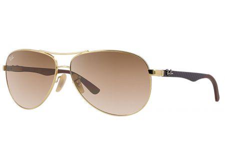 Ray-Ban Double Brow Bar Light Brown Tech Aviator Sunglasses - RB8313 001/51 58