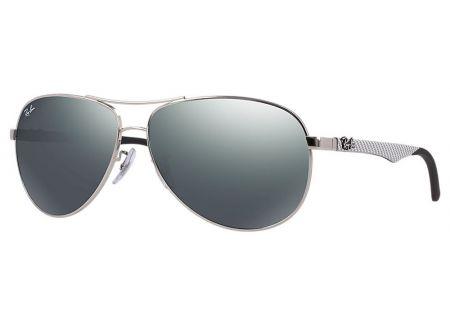 Ray-Ban Double Brow Bar Silver Mirror Tech Aviator Sunglasses - RB8313 003/40-58