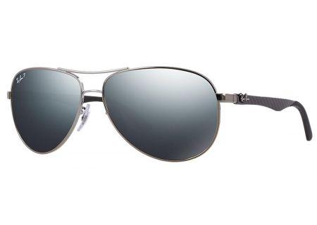 Ray-Ban Polarized Pilot Blue Mirror Double Brow Bar Mens Sunglasses - RB8313 004/K6 61