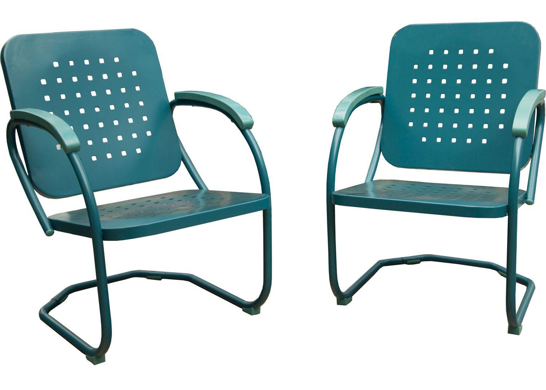 Hanover caribbean blue retro 2 piece patio set retro2pc for Outdoor furniture big w