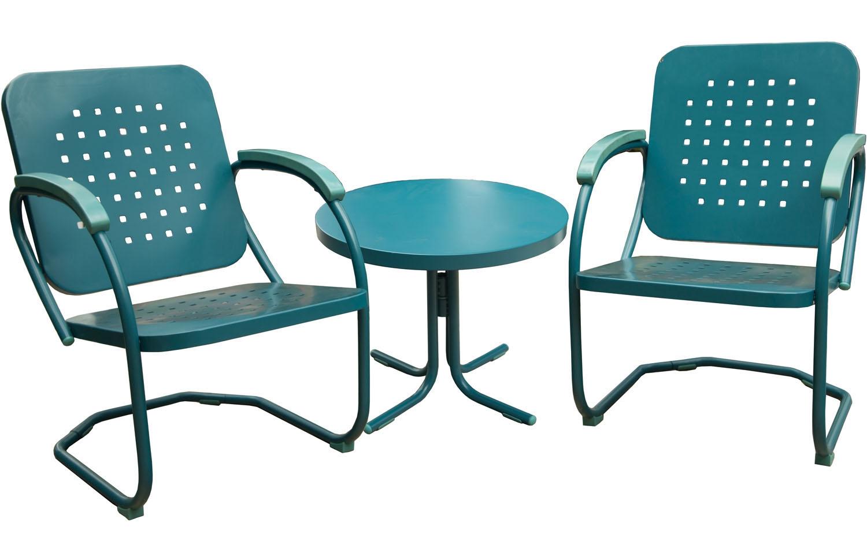 Hanover caribbean blue retro 3 piece patio set retro3pc for Outdoor furniture big w