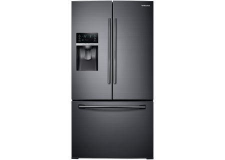 Samsung Fingerprint Resistant Black Stainless French Door Bottom Freezer Refrigerator - RF28HDEDBSG