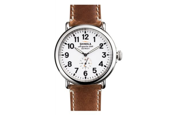 Shinola The Runwell 47mm Tan Leather Strap White Dial Mens Watch - S0110000010