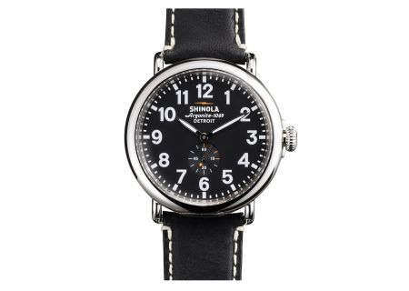 Shinola The Runwell 47mm Black Leather Strap Black Dial Mens Watch - S0110000012
