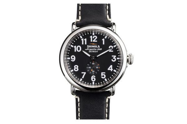 Shinola The Runwell 47mm Black Leather Strap Black Dial Mens Watch - S0110000012