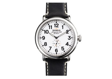 Shinola The Runwell 47mm Black Leather Strap White Dial Mens Watch - S0110000016