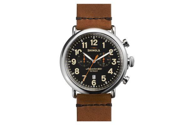 Shinola The Runwell Chrono 47mm Brown Strap Black Dial Mens Watch - S0110000044