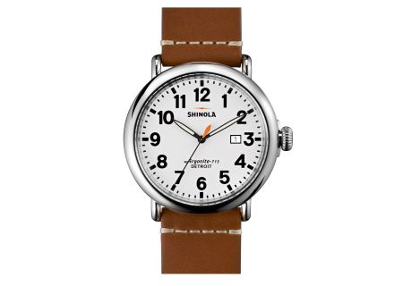 Shinola The Runwell 47mm Maple Leather Strap White Dial Mens Watch - S0110000111
