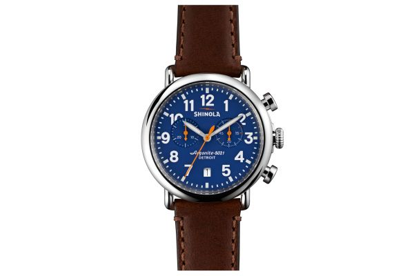 Shinola The Runwell Chrono 41mm Teak Leather Strap Royal Blue Dial Mens Watch - S0110000117